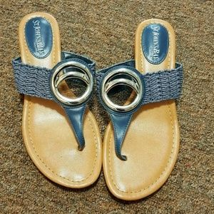 St. Johns Bay Blue Woven Thong Sandals Size 5.5